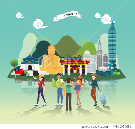 Attraction landmarks in Taiwan illustration design 44624985