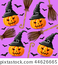 Halloween background with pumpkins witches 44626665