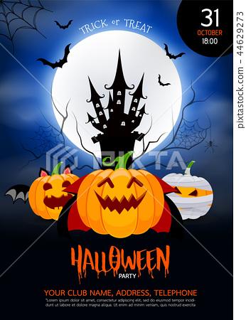 Funny cute cartoon pumpkin character. 44629273