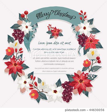 Vector illustration of a floral wreath in winter 44630056