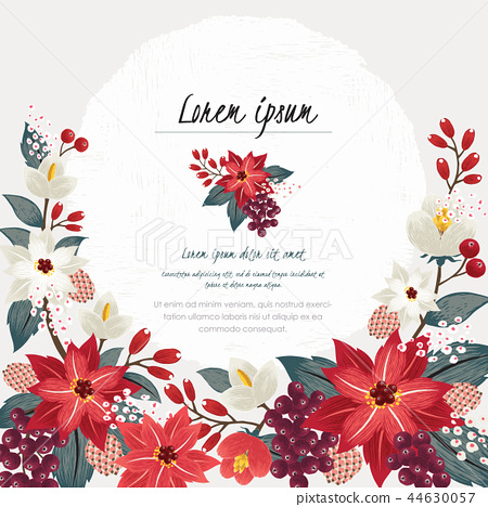 Vector illustration of a floral frame in winter			 44630057