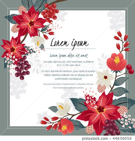 Vector illustration of a floral frame in winter 44630058