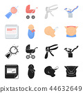 Calendar, newborn, stomach massage, artificial feeding. Pregnancy set collection icons in black 44632649