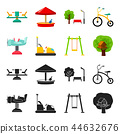 Airplane on a spring, swings and other equipment. Playground set collection icons in black,cartoon 44632676