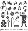 icon, snowman, christmas 44633374