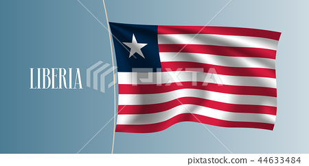 Liberia waving flag vector illustration - Stock Illustration