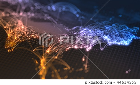 glowing city and human population density areas with bouncy line connections between them. view of 44634555