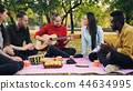 Charming young woman is playing the guitar sitting on blanket with friends on picnic, girls and guys 44634995