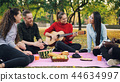 Charming young woman is playing the guitar sitting on blanket with friends on picnic, girls and guys 44634997