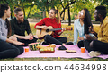 Charming young woman is playing the guitar sitting on blanket with friends on picnic, girls and guys 44634998