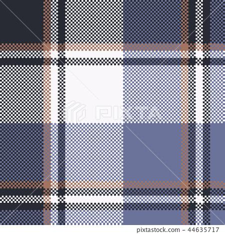 Blue check pixel tartan seamless fabric texture 44635717