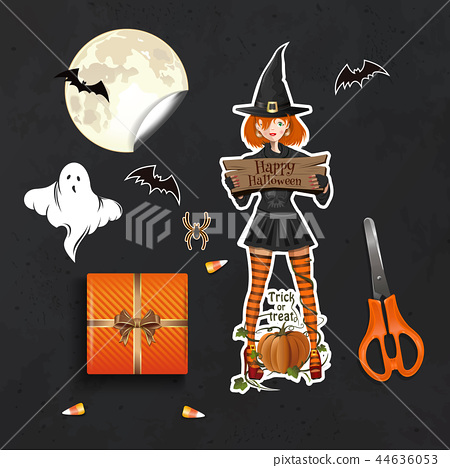 Table with gifts for Halloween top view 44636053