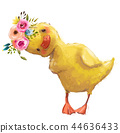 little duckling with a floral wreath 44636433