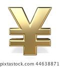 Golden currency symbol YEN 3D 44638871