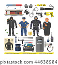 Police vector people policeman and criminal characters illustration policy set of policeofficer in 44638984