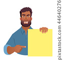 African man holding blank banner. 44640276