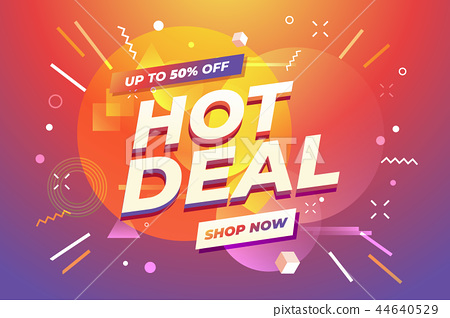 Hot Deal banner, special offer, up to 50% off. 44640529