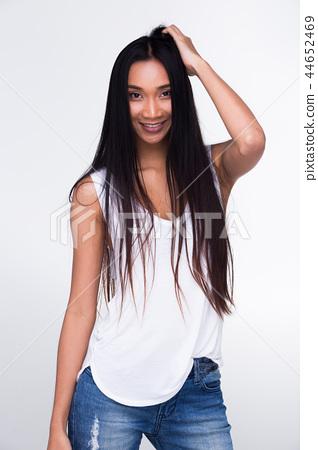 Asian Long straight black hair tan skin white vest 44652469