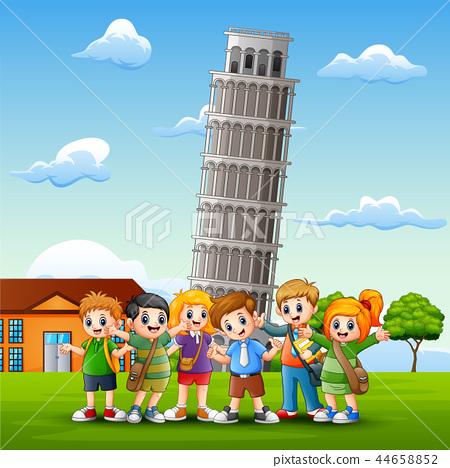 Cartoon happy kids in front of pisa tower backgrou 44658852
