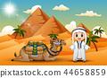 Caravan is herding camels in the desert 44658859