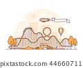 Roller coaster - thin line design style vector illustration 44660711