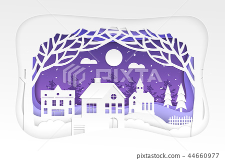 Winter town - modern vector paper cut illustration 44660977