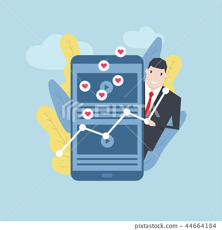 Businessman with favorite content on mobile phone. 44664184