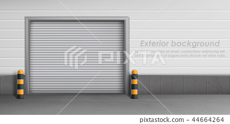 Vector exterior background with closed garage door 44664264