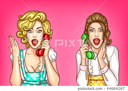 Vector women talk on the phone, excited housewives 44664267