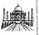 Free hand doodle sketch of Taj Mahal in India  44664715