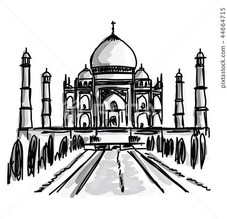 Free hand doodle sketch of Taj Mahal in India  44664715