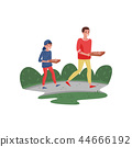 Smiling father and his son walking home with pizza. Family day. Fatherhood theme. Flat vector 44666192