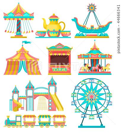 Amusement park design elements set, merry go round, carousel, circus tent, ferris wheel, train 44666341