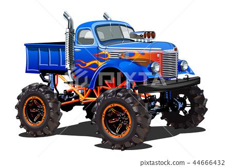 Cartoon Monster Truck Isolated On White Background Stock Illustration 44666432 Pixta