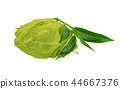 powder green tea and green tea leaf on white  44667376