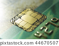 Gold credit cards close up. Macro shot smart card, credit card chip 44670507