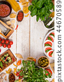 Italian food ingredients on old wooden background 44670589