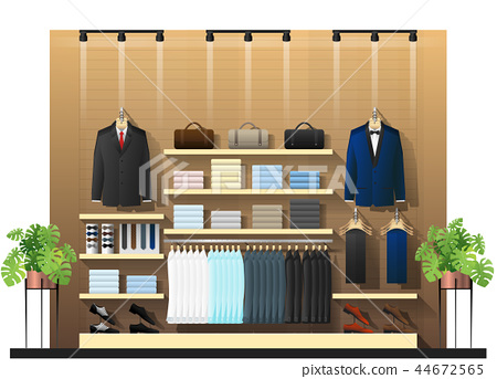Interior scene of men clothing store  44672565