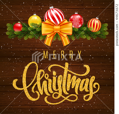 Holiday gift card with lettering Merry Christmas 44673872