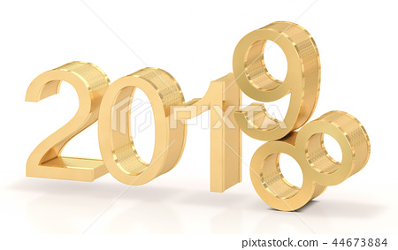 3D Golden Text 2019 on white Background 44673884
