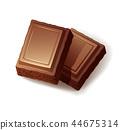 Two pieces of milk porous chocolate on white background 44675314