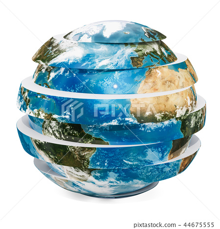 Sliced Earth Globe, 3D rendering 44675555