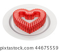 Red jelly heart on a plate, 3D rendering 44675559