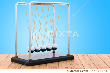 Pendulum, Newton's cradle on the wooden table 44675561