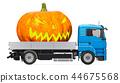 Halloween concept. Truck with Halloween Pumpkin 44675568