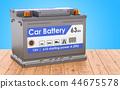 Car Battery on the wooden desk. 3D rendering 44675578
