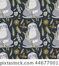 sloth, flat, seamless 44677001