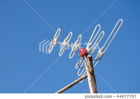 Old-fashioned radio antenna receiver set in rural  44677707