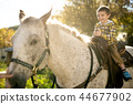 in a beautiful Autumn season of a young boy and horse 44677902