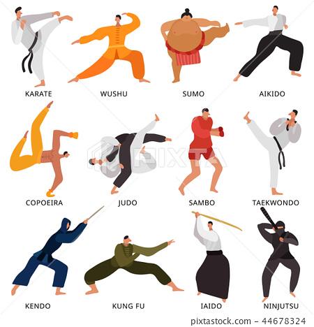 Martial Arts Fighters Flat Set 44678324